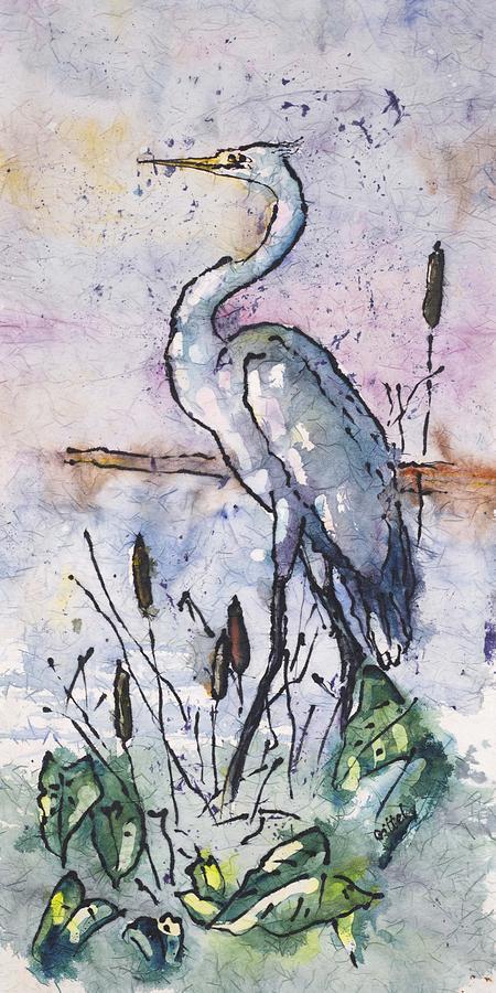 Fishing Heron by Gloria Avner