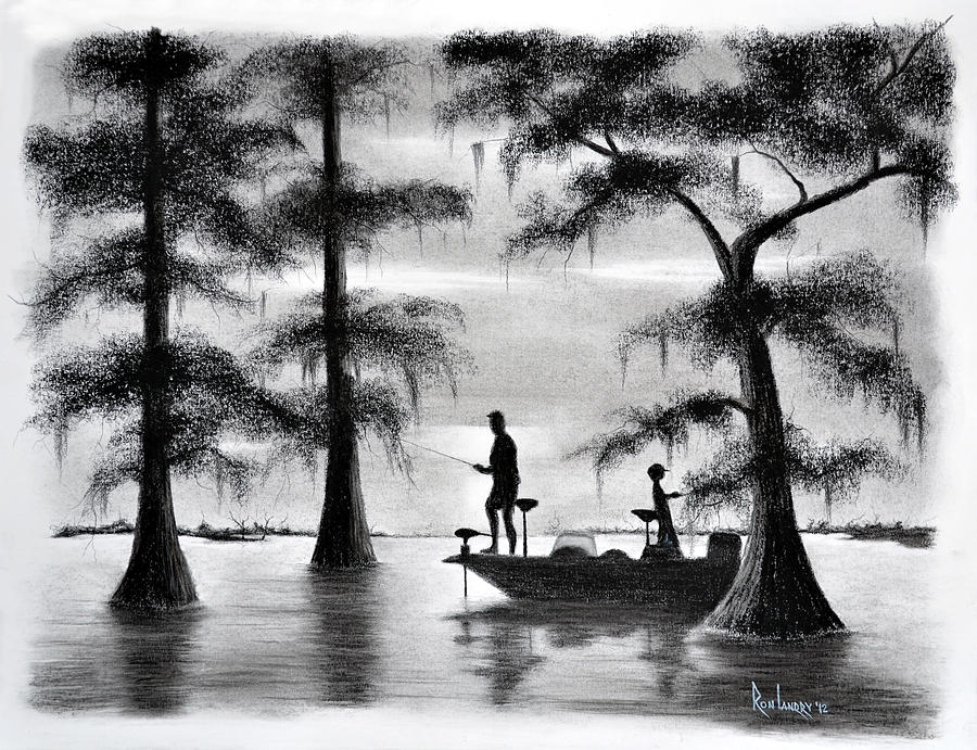 Fishing In The Basin Drawing By Ron Landry