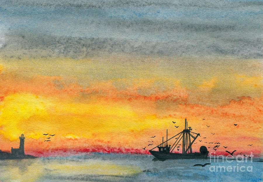 Art Artwork Painting Kyllo Sea Ocean Water Saltwater Boat Ship Blue Yellow Sunset Sunrise Silhouette Sun Watercolor Fishing Mast Reflection Day Peace Peaceful Calm Calming Relax Relaxed Relaxing Restful Quiet Diesel Lighthouse Evening Gear Lighthouse Light Sunlight Cloud Painting - Fishing In The Evening  by R Kyllo