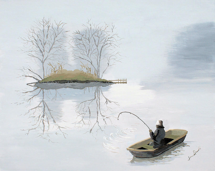 Landscape Painting - Fishing In The Mist by Jennifer  Donald