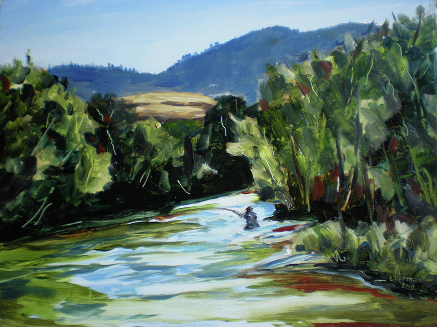 Plein Air Painting - Fishing On The Boise by Les Herman