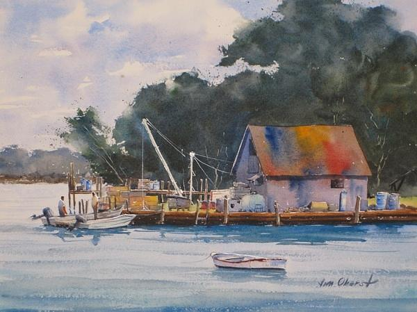 Landscape Painting - Fishing Shack by Jim Oberst