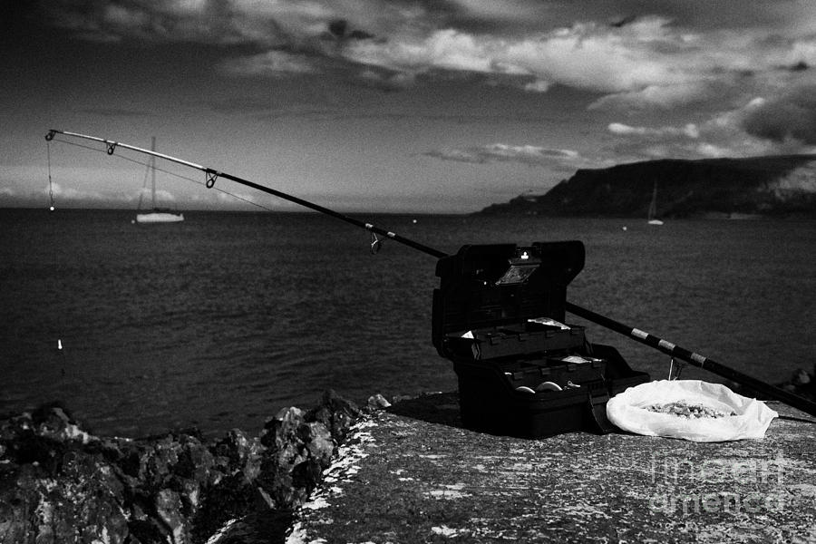 Fishing Photograph - Fishing Tackle Box Filled With Sea Fishing Gear Rod And Bait On The County Antrim Coast by Joe Fox