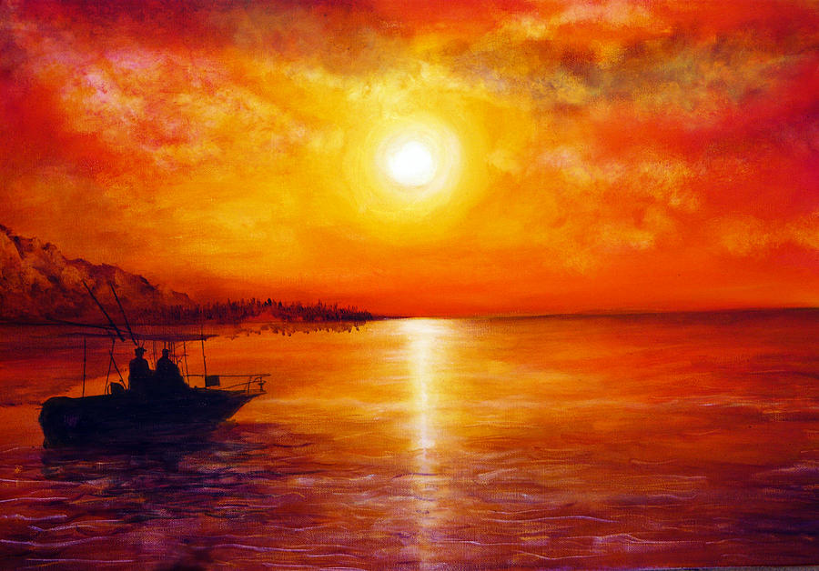 Hand Painted Painting - Fishing Trip by Ann Marie Bone
