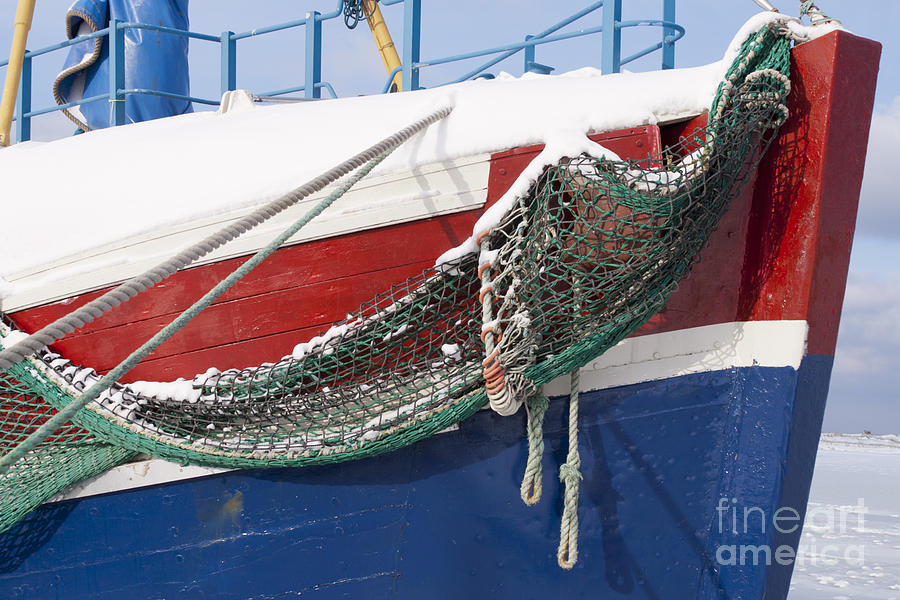 Ship Photograph - Fishing Vessel In Winters Rest by Heiko Koehrer-Wagner