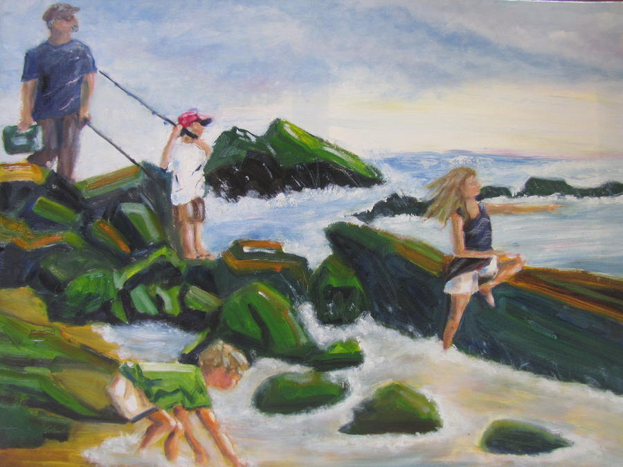 Ocean Painting - Fishing with Grandpa by Jenell Richards