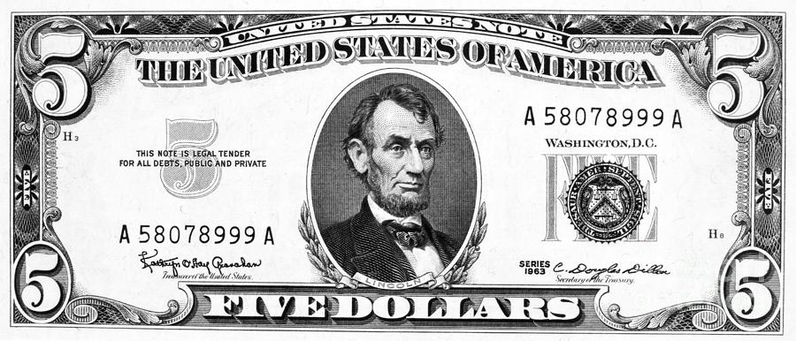 dollar bill coloring page printable - five dollar bill photograph by granger