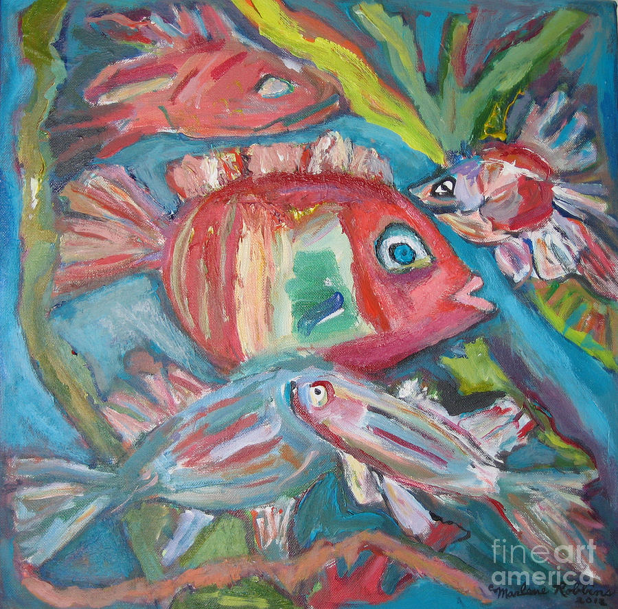 Fish Painting - Five Fish by Marlene Robbins