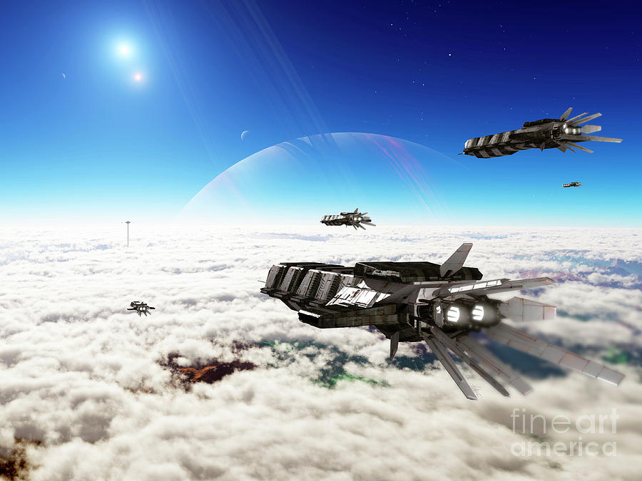 Artwork Digital Art - Five Medium Freighters Deccelerate by Brian Christensen