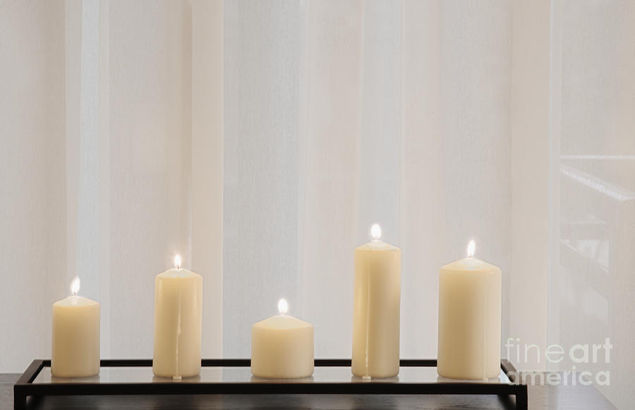 5 Photograph - Five White Lit Candles by Andersen Ross