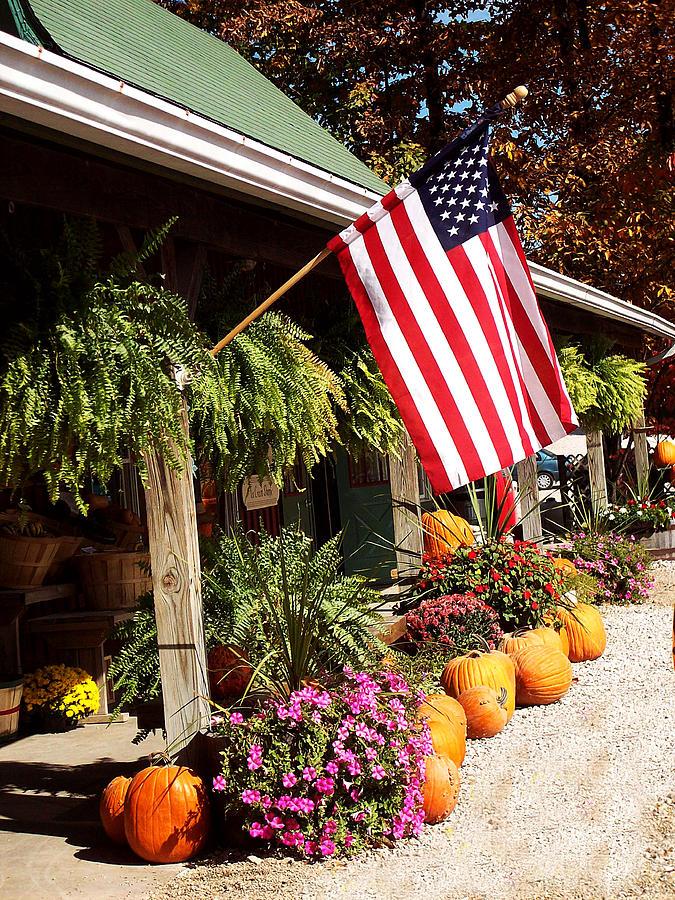 Flag Photograph - Flag Among The Pumpkins by Judith Lawhon