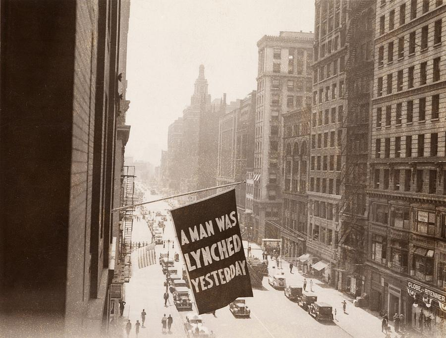 History Photograph - Flag Announcing Another Lynching. A Man by Everett