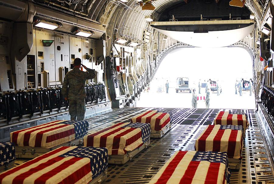 History Photograph - Flag Draped Coffins Of Five Us Soldiers by Everett
