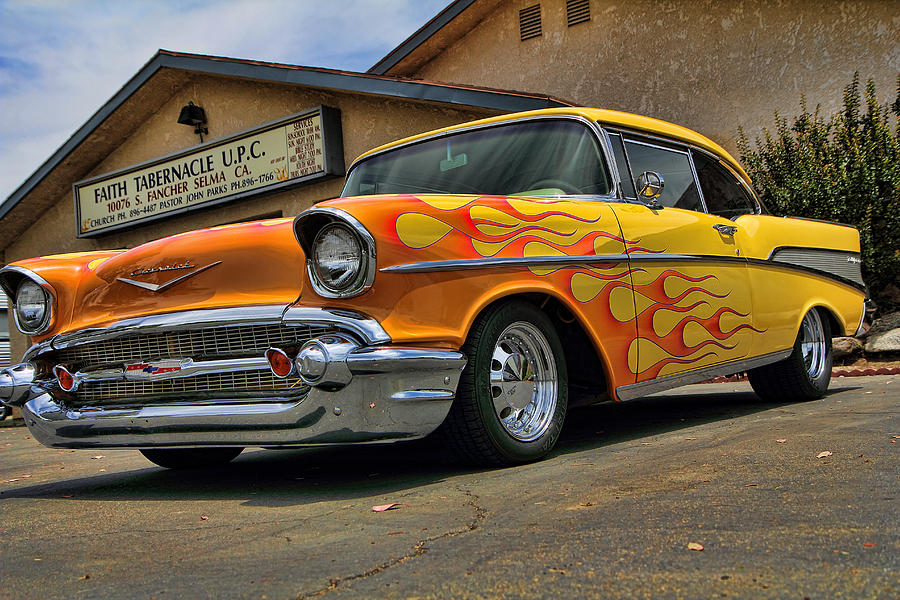 Old Photograph - Flamed 57 Chevy by Fred Wilson