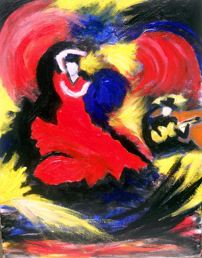 Flamenco Dancer Painting by Ted Hebbler