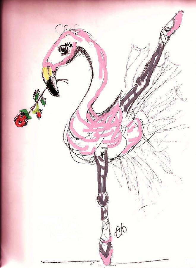 Flamenco Flamingo Drawing by Carol Allen Anfinsen