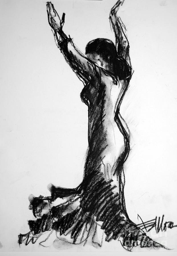 Flamenco Sketch Drawing - Flamenco Sketch 3 by Mona Edulesco
