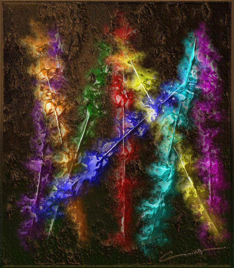 Flame Digital Art - Flaming Arrows by Michael Hurwitz