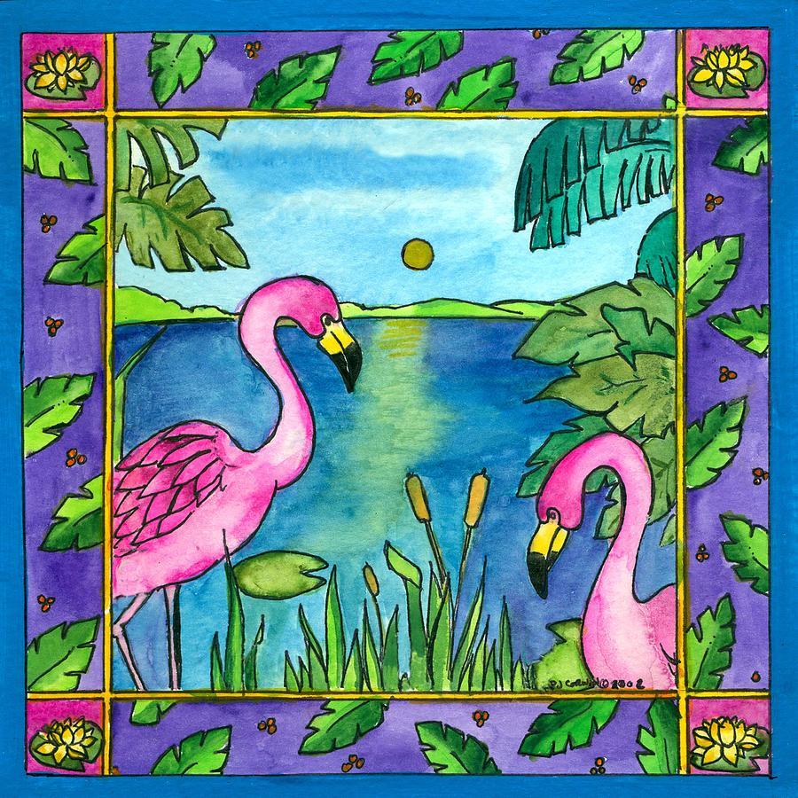 Whimsical Painting - Flamingos by Pamela  Corwin