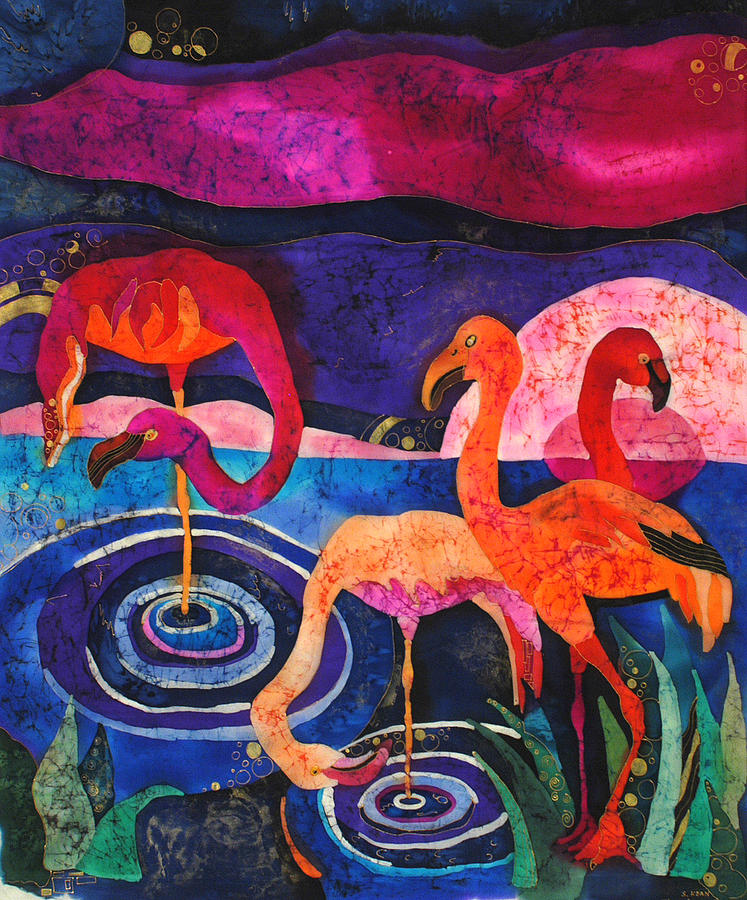 Silk Tapestry - Textile - Flamingos by Sandra Kern