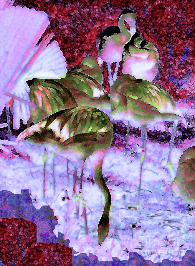 Flamingos Painting - Flamingotasia by Elinor Mavor