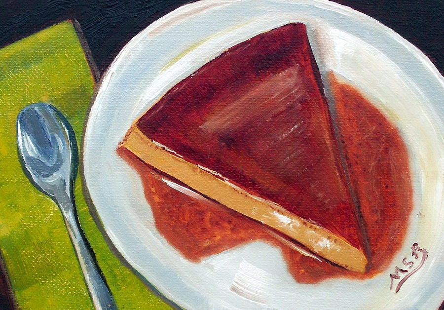 Flan Painting - Flan Oil Painting by Maria Soto Robbins