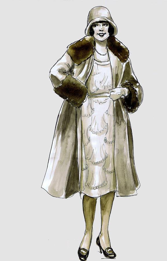 Flapper Fur Coat Drawing By Mel Thompson