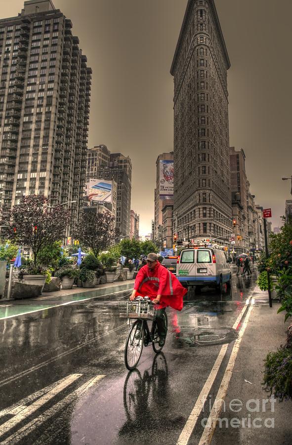 Hdr Photograph - Flatiron In The Rain by David Bearden