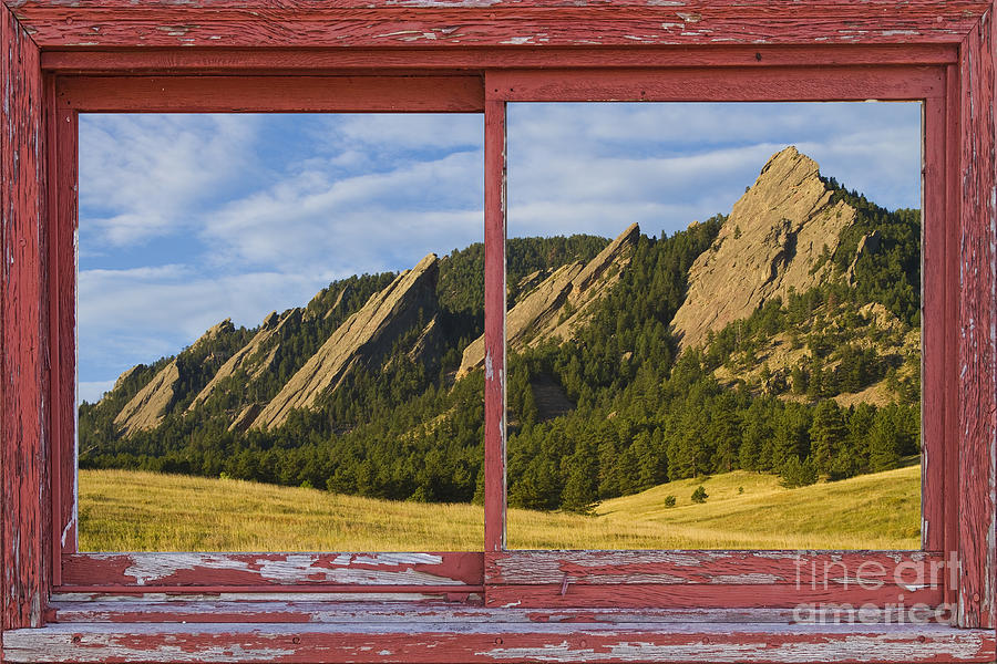 Picture Photograph - Flatirons Boulder Colorado Red Barn Picture Window Frame Photos  by James BO  Insogna