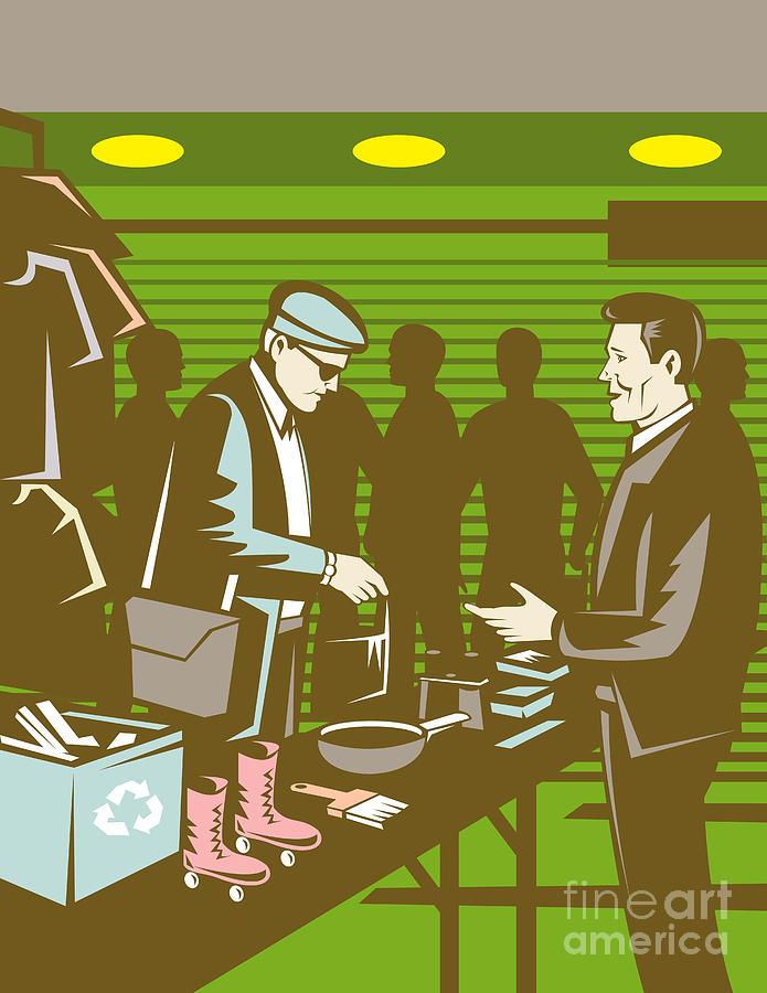 Flea Market Digital Art - Flea Market Selling Trading Retro by Aloysius Patrimonio