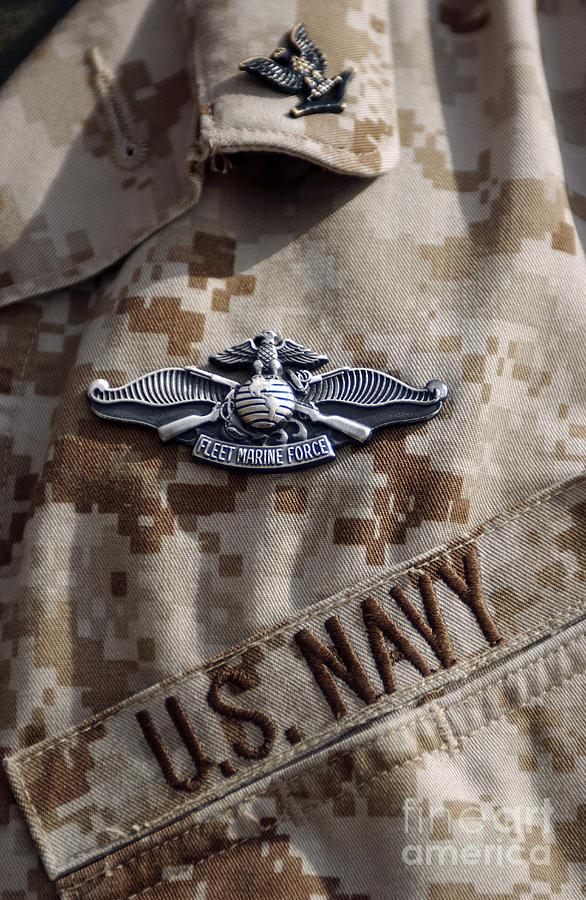 Close-up Photograph - Fleet Marine Force Warfare Device Pin by Stocktrek Images