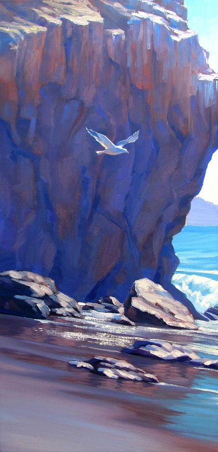 Landscape Painting - Flight Over El Matador by Elena Roche