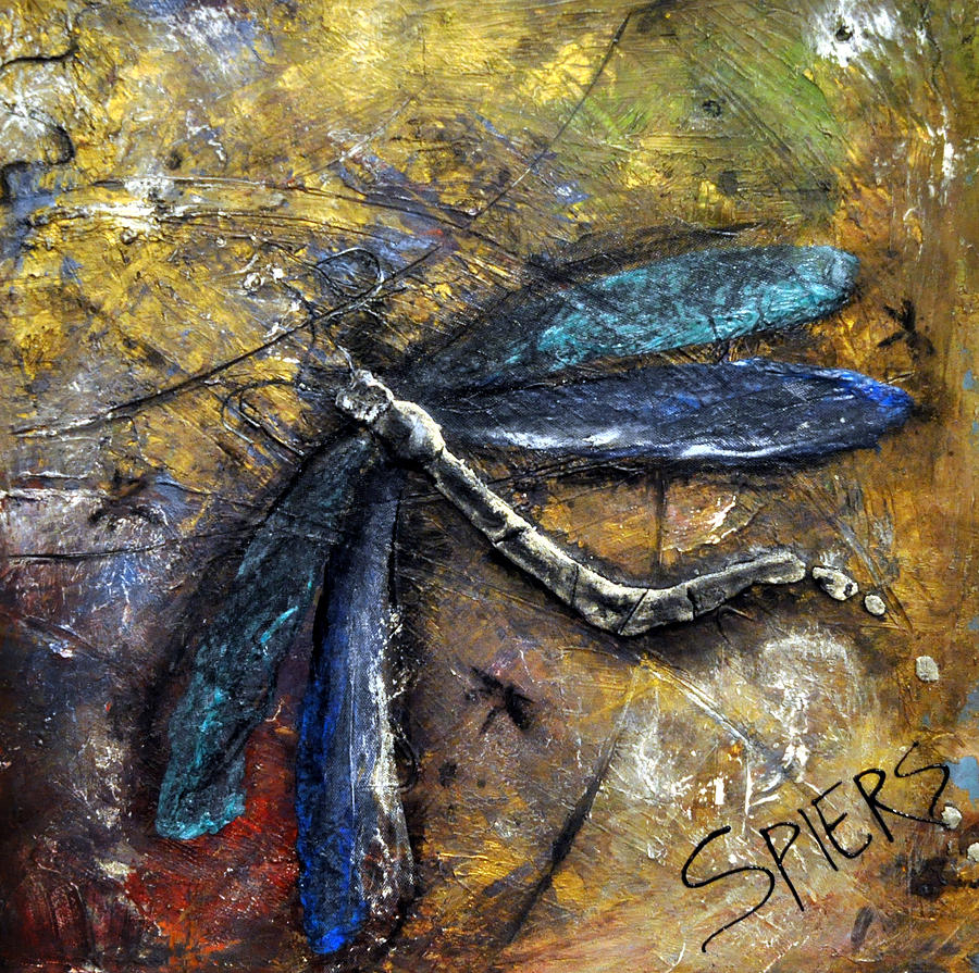 Dragonfly Painting - Flight Risk by Amanda  Sanford