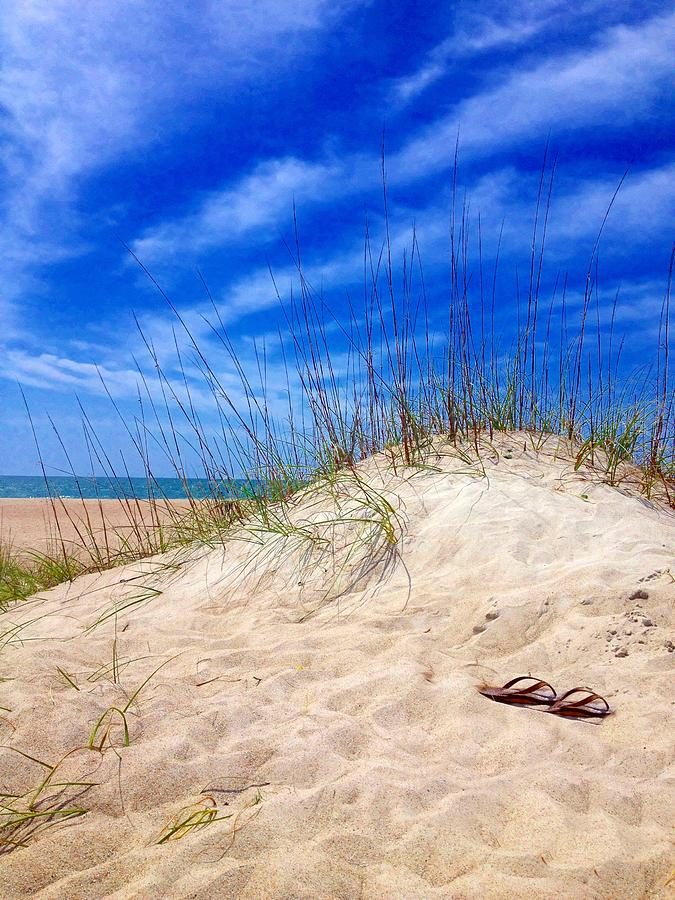 Sky Photograph - Flip Flops In The Sand by Joan Meyland
