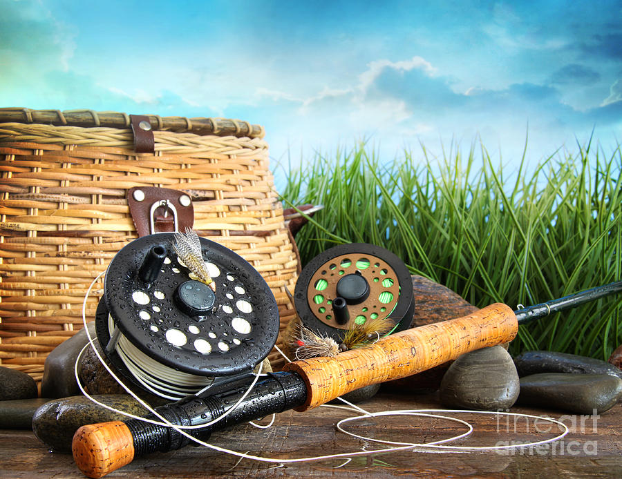 Flly fishing equipment and basket photograph by sandra for Wall fishing tools