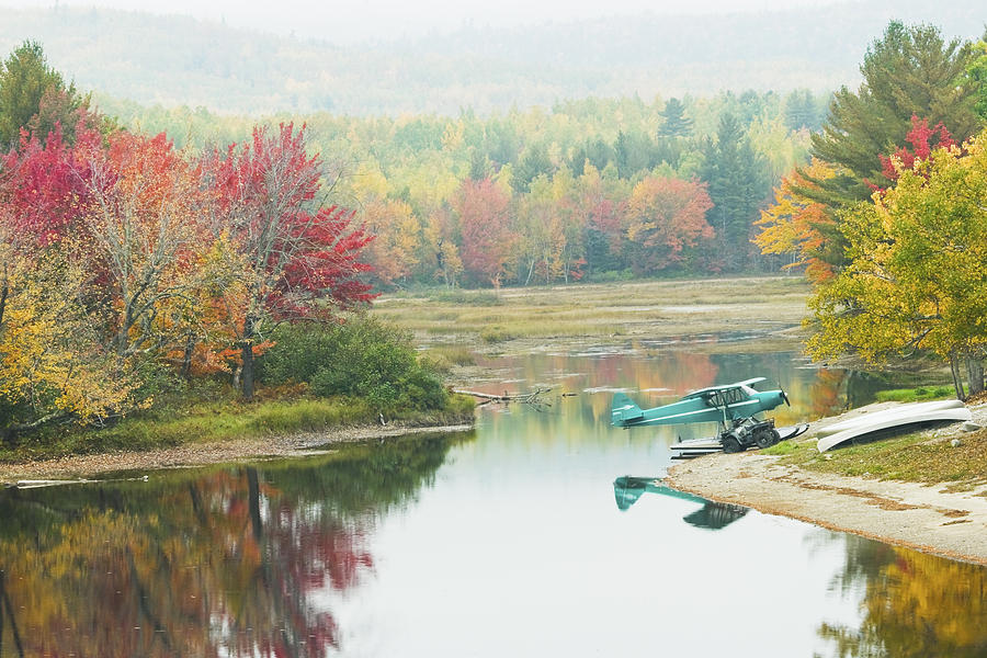 Float plane on pond near golden road maine photo poster for Pond equipment near me
