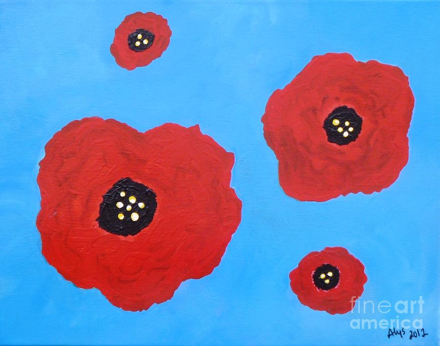 Acrylic Painting Painting - Floating Flowers by Alys Caviness-Gober