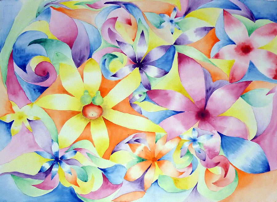 Flowers Painting - Floral Fractal by Linda Pope