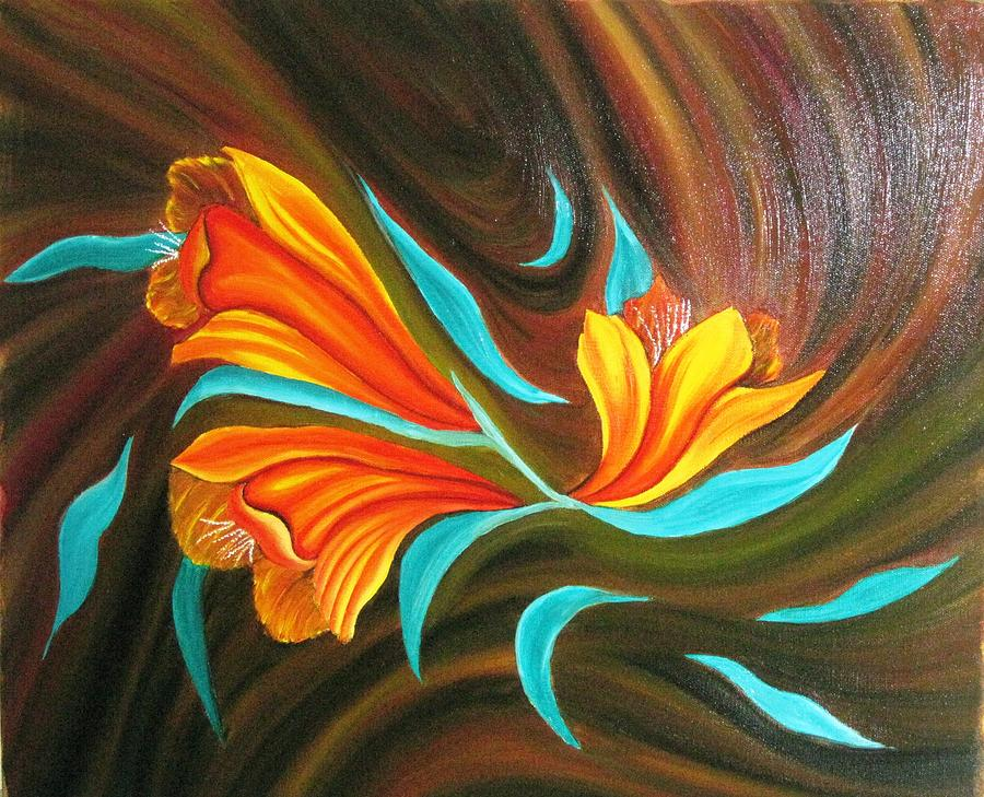 Floral Friendship-abstract Painting Painting by Rejeena Niaz