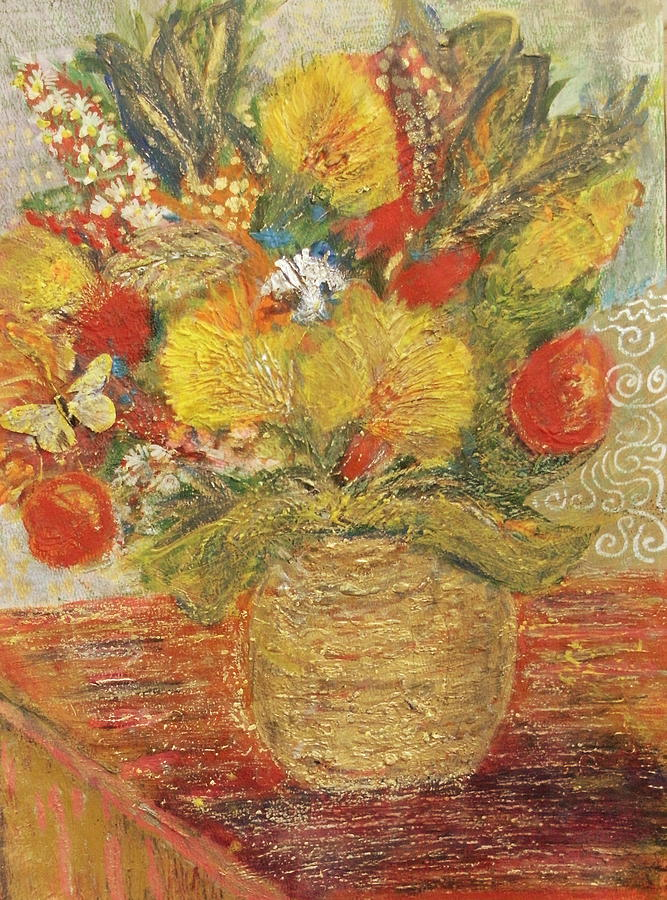 Floral Painting - Floral In Vase With A Bow by Anne-Elizabeth Whiteway