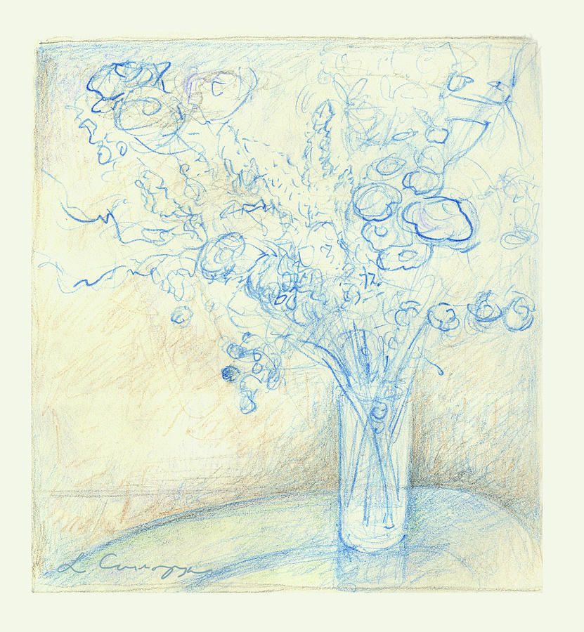 Flowers Drawing - Floral Still Life Sketch by Elizabeth Carrozza