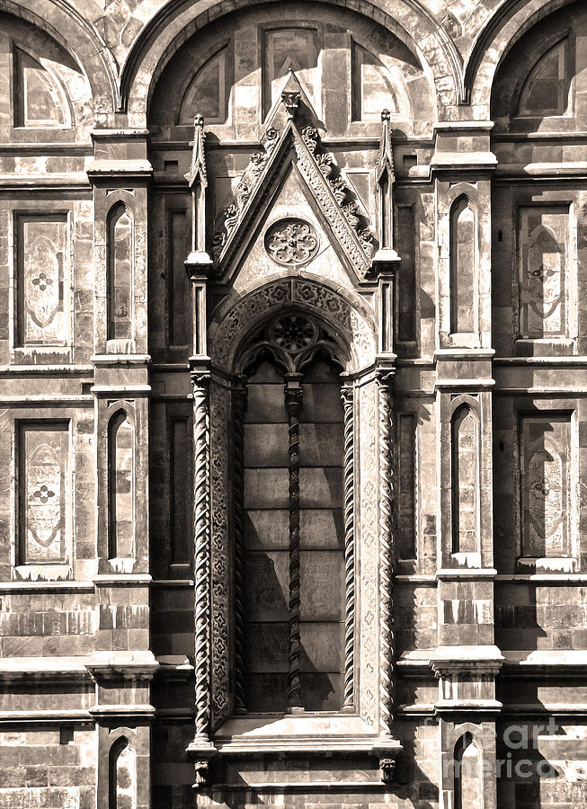 Florence Italy Painting - Florence Italy - Duomo Stained Glass - 02 - Sepia by Gregory Dyer
