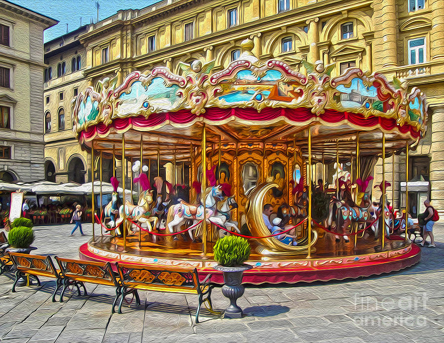 Florence Italy Photograph - Florence Italy Carousel - 02 by Gregory Dyer