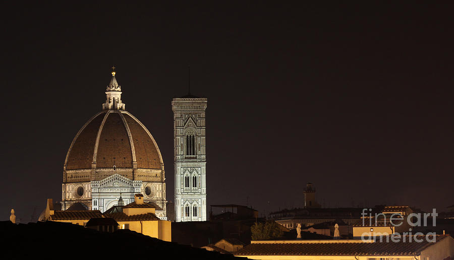 Florence Photograph - Florence Skyline At Night by Chris Hill