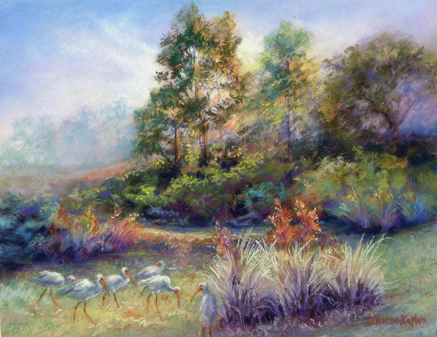 Florida Landscape Pastel - Florida Ibis Landscape by Denise Horne-Kaplan
