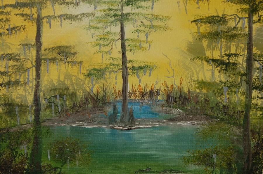 Swamp Painting - Florida Swamp by Katheryn Napier