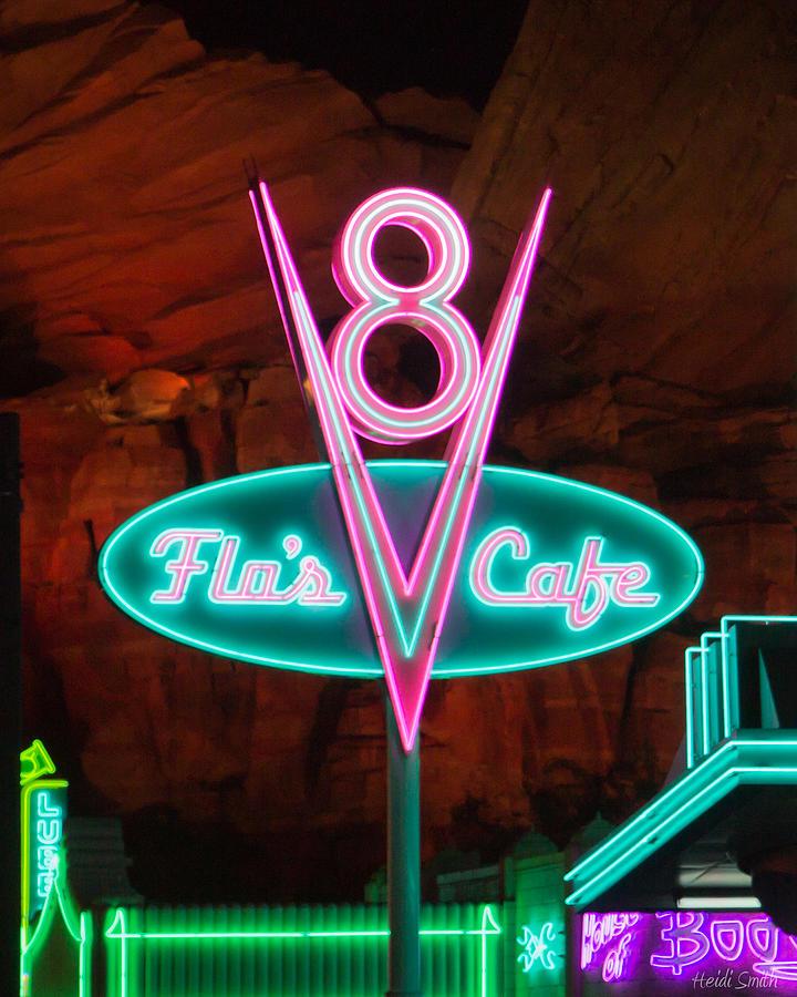 Disney Photograph - Flos V8 Cafe - Cars Land - Disneyland by Heidi Smith