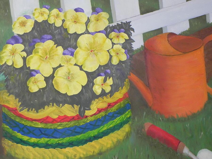 Landscape Painting - Flower Basket In Garden by Ernie Goldberg