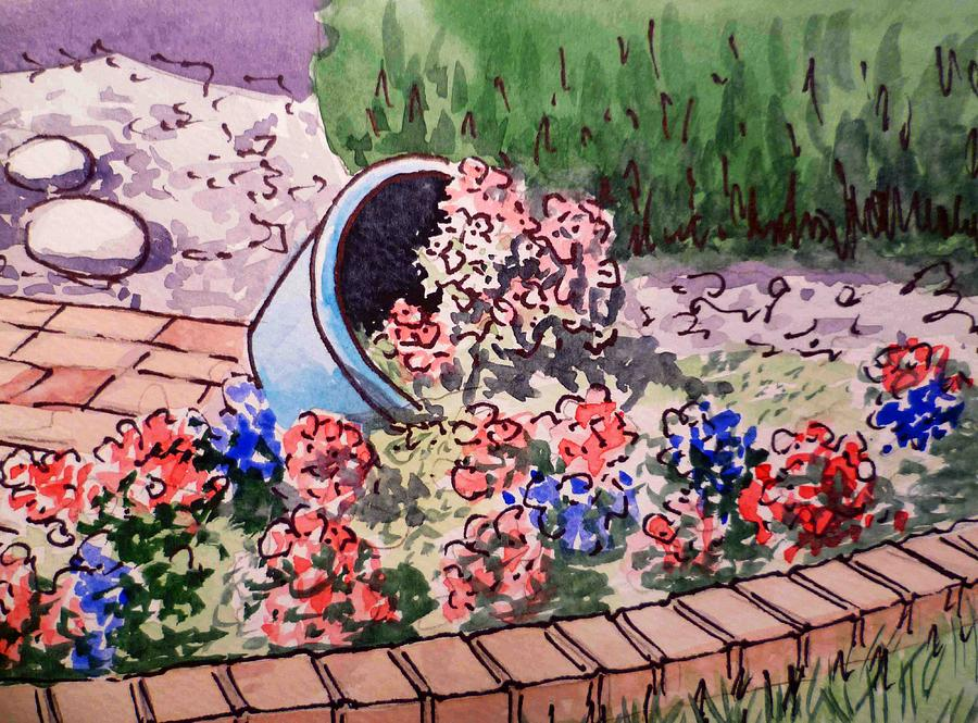 Flower Pot Painting - Flower Bed Sketchbook Project Down My Street by Irina Sztukowski