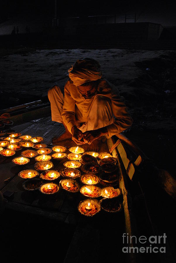 India Photograph - Flower Ceremony On The Ganges River by Jen Bodendorfer